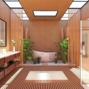Bathroom Interiorwith Wood Finishes 3D model