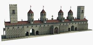 3D castle wall gate
