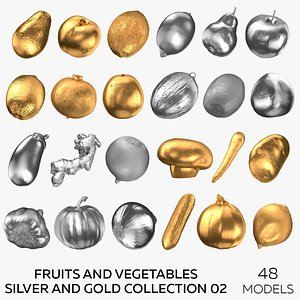 3D Fruits and Vegetables Silver and Gold Collection 02 - 48 models
