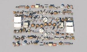 3D Ancient scenes set up inn carriage shopping street market model