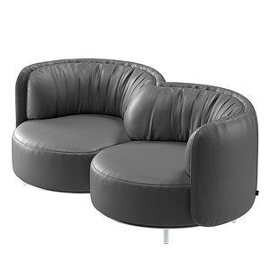 3D model Natuzzi Wave 2 seater sofa by Nika Zupanc