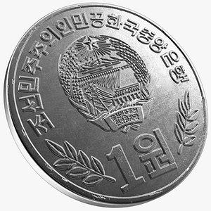 North Korea Coin 1 Won 2002 model