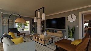 blender porch house livingroom 3D