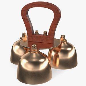 Brass Liturgical Bell 3 Tones Wood Handle 3D model