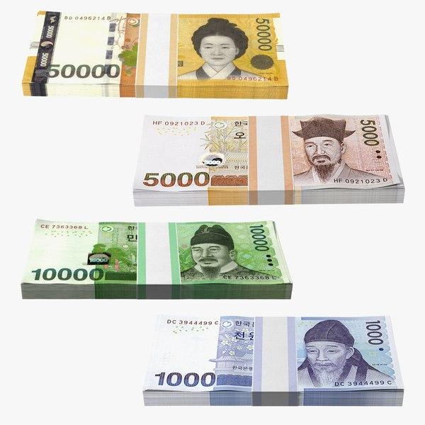 3D South Korean Banknote Bundles Collection 2