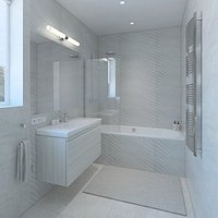 Bright bathroom with decorative tiles