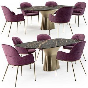 Bontempi Podium table Queen metal armchair