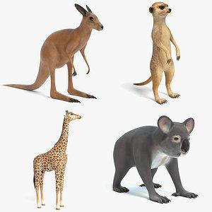 3D model kangaroo meerkat giraffe
