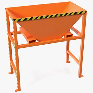 Silo Container Filling Funnel Orange 3D model
