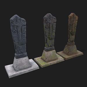 3D Mossy Grave Stone