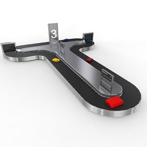Airport Baggage Carousel Conveyor 1 3D model