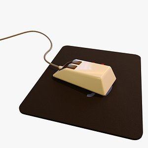3D model vintage old pc mouse