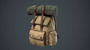 low-poly backpack pbr 3D model