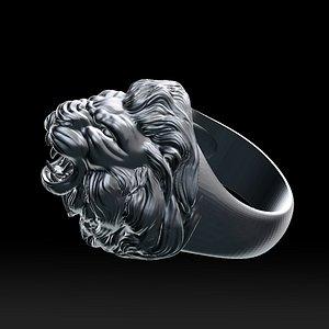 Lion roaring head ring 3D print model HOLLOW 3D model