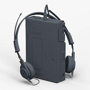 Walkman Sony TPS-12 with Headphone 3D model