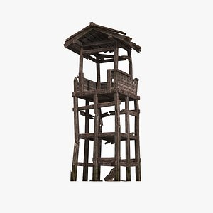 3D A dilapidated defense tower from an ancient war in Asia model