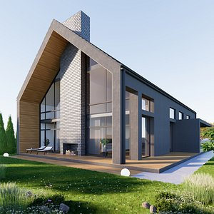 3D House 4 - Created with fully parametric Revit Families model