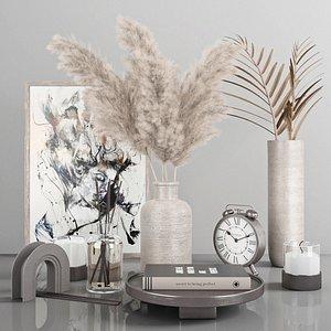 decorative set with pampas 3 3D