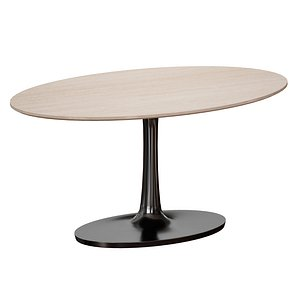 Nero Oval Brown Marble Top Table with Matte Black Base model