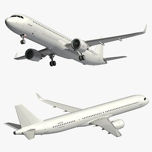 airbus a321neo white livery 3D model