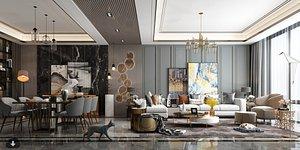 living room dining 3D