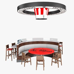 fast food table 3D model