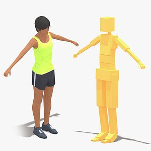 woman rig exercise 3D model