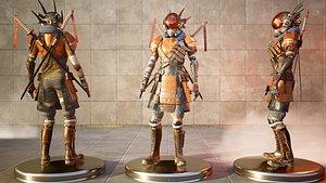 Sci-fi Samurai Ninja 3D CG model rigged character 3D model 3D
