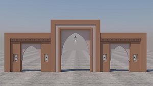 3D traditional moroccan door marrakech