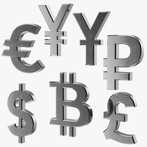 currency symbols silver set 3D model