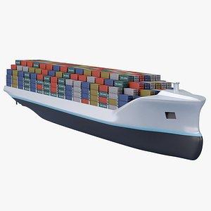 3D Future Autonomous Container Ship model