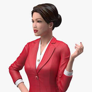 Asian Woman wears Red Formal Suit Rigged for Modo 3D model