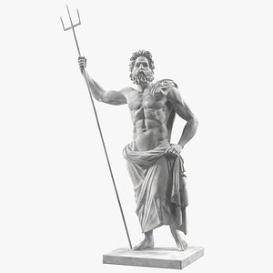 Poseidon Greek God Statue Marble 3D