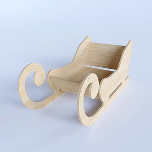 Wooden Toy Sleigh 3D model