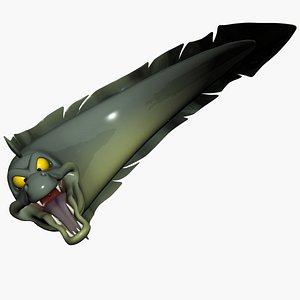 3D Cartoon Moray eel Rigged model