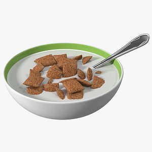 3D Chocolate Cereal Pillows Falling in Bowl with Milk model