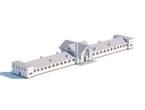 Mid-poly model administrative city building 3D