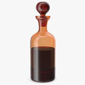 3D glass orange decanter whiskey