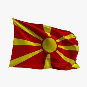 Realistic Animated Flag - Microtexture Rigged - Put your own texture - Def North Macedonia 3D