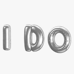 Foil Balloon Words I do Silver 3D model