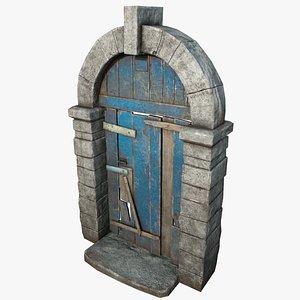 3D door wooden medieval