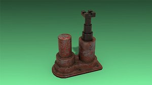 3D model low-poly hydraulic jack