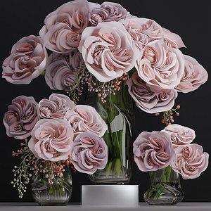 3D Ohara Big Garden Rose Camellia Peony