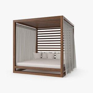 3D Wood Outdoor Pergola model