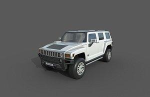 3D model Low Poly Car - Hummer H3 2010
