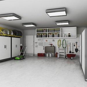 Garage Indoor with Tools 3D