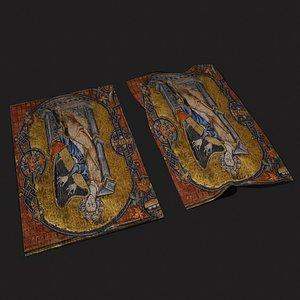 3D King David Playing Harp Tapestry model