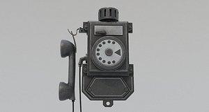 Dirty Black Old Phone 3D model