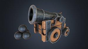 3D Stylized Naval Cannon model