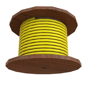 3D Yellow Wire Roll model